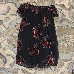 Red roses velvet off the shoulder dress